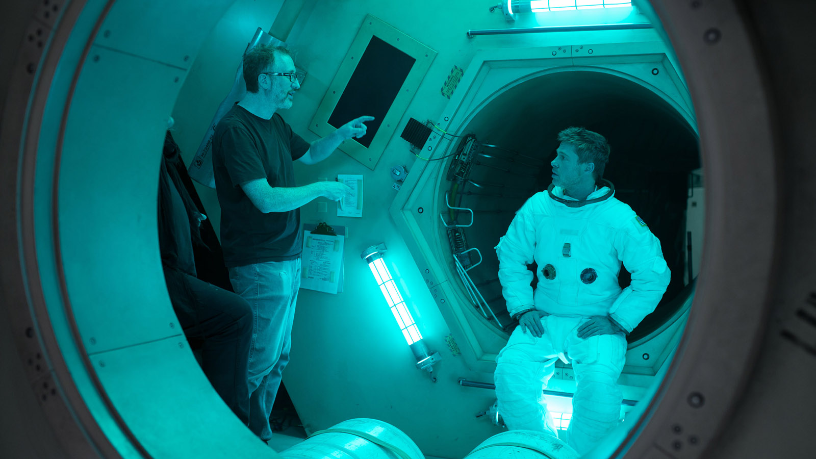James Gray directing Brad Pitt in Ad Astra. Photo by François Duhamel.