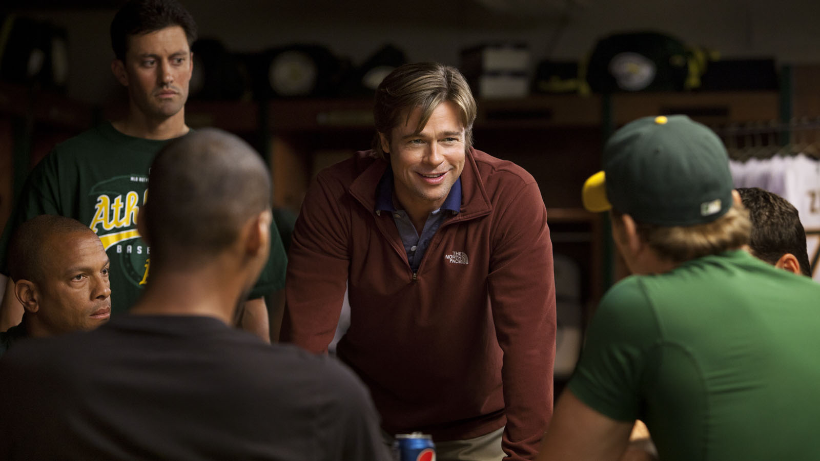 "Brad Pitt stars in Columbia Pictures'  drama ""Moneyball."""