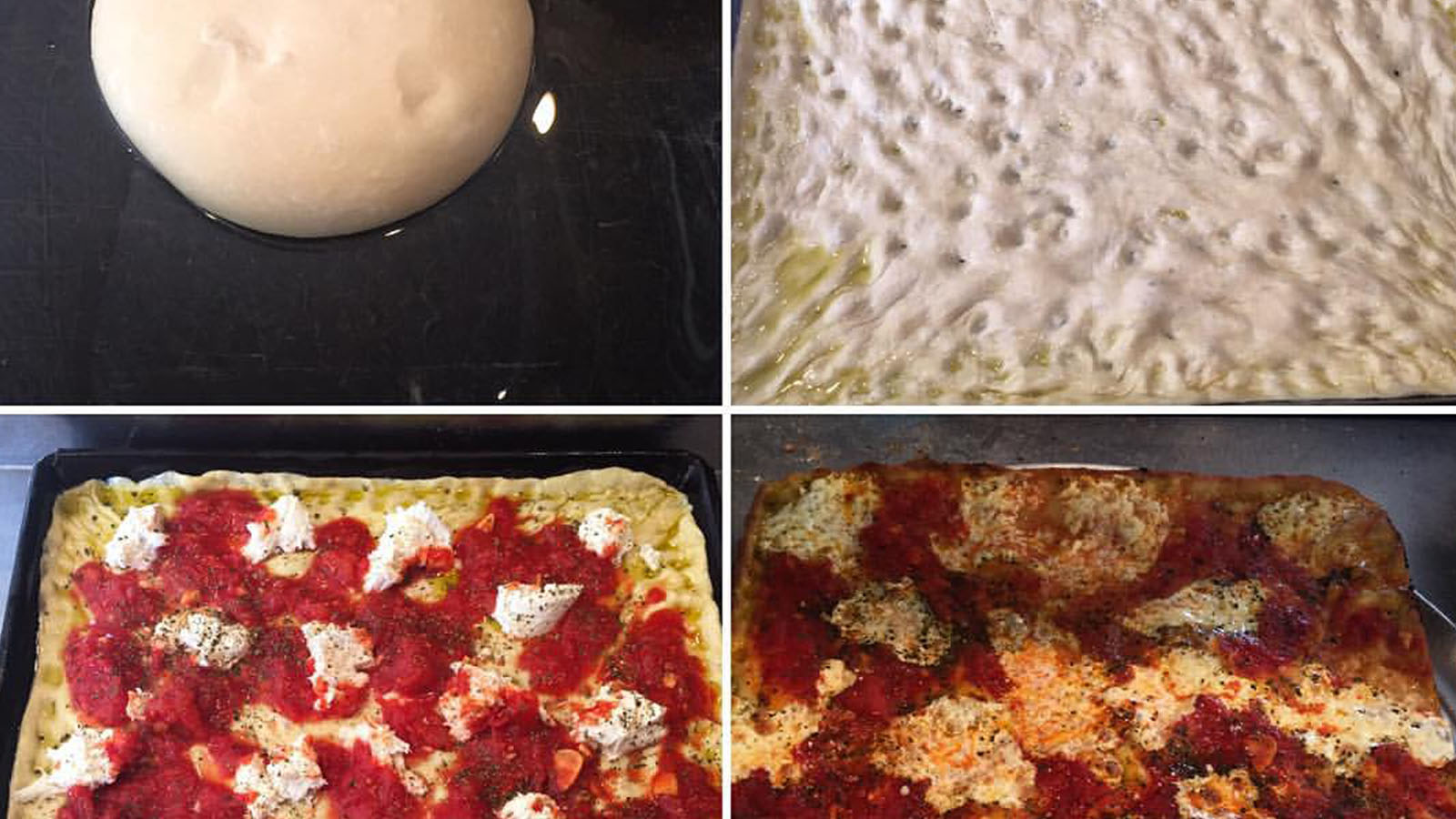 The making of a grandma pizza at Rosco's
