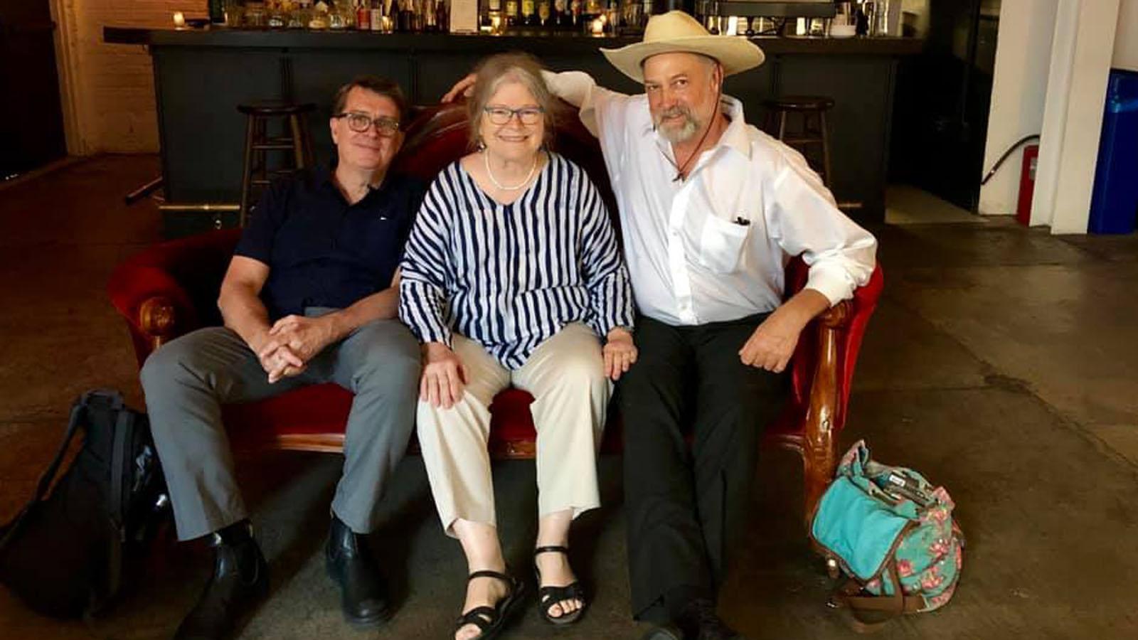 Jim Browne, Maureen Gosling, and Harrod Blank in the Metrograph lobby, June 2019.