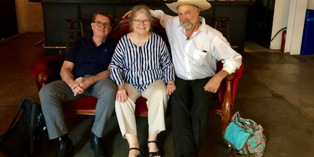 Jim Browne, Maureen Gosling, and Harrod Blank in the Metrograph lobby, June 2019.